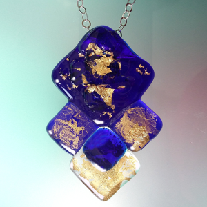 Pendant in Deep Blue Murano glass, crystal and Gold 24kt
