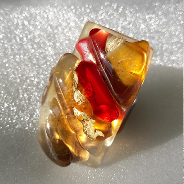 Anello in vetro di Murano con i colori dell'Autunno