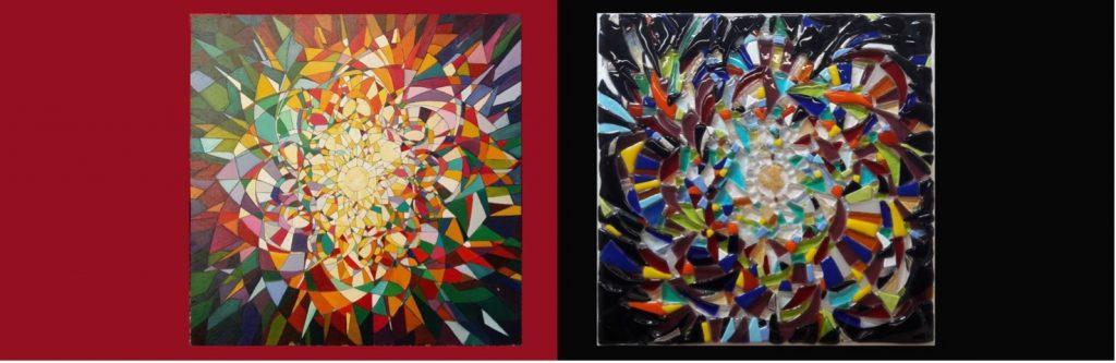 """""""Il mondo manifesto"""" - Claudia Selz e Mara Lombardi Pannello in legno 6x60 cm, Lastra in vetro di Murano - 45x45cm"""